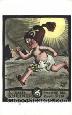 fra000003 - Shriner, first pin Masonic Fraternal Postcard Post Card