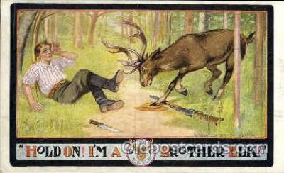fra001002 - Brother Elk, Fraternal Postcard Post Card
