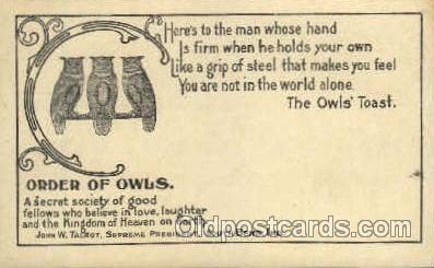 fra001004 - Order of Owls, Fraternal Postcard Post Card