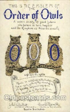 fra001012 - Order of Owls, Fraternal Postcard Post Card