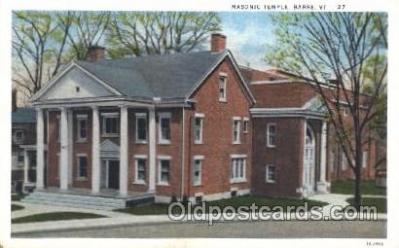 fra400005 - Barre, VT. Mason, Mason's Fraternal Organization, Postcard Post Card