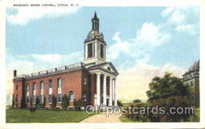 fra400026 - Masonic Home Chapel, Utica, New York, N.Y., USA Mason, Mason's Fraternal Organization, Postcard Post Card