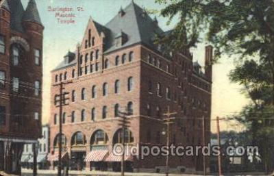 fra400044 - Burlington, Vt. USA Mason, Mason's Fraternal Organization, Postcard Post Card
