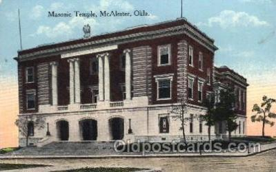 fra400051 - McAlester, Oklahoma USA Mason, Mason's Fraternal Organization, Postcard Post Card