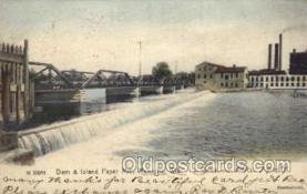 fac001105 - Dam & Island Paper Mill Menasha, WI, USA Postcard Post Cards Old Vintage Antique