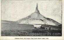 fam001004 - Chimney Rock, North Platte Valley, NE Ezra Meeker, Oregon Trail Traveler by Ox Cart Postcard Post Card