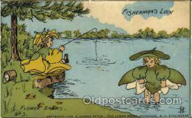 fan001321 - Fisherman's Luck, Flower Babies, Fantasy Postcard Post Card