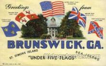 fgs100029 - Brunswick, Georga, USA, Flag, Flags, Postcard Post Card