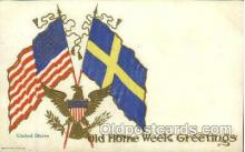 fgs100034 - United States of America, Sweeden Flag, Flags, Postcard Post Card