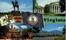 fgs100048 - Virginia, USA Flag, Flags, Postcard Post Card