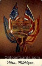 fgs100072 - Niles, Michigan, USA Flag, Flags, Postcard Post Card