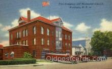 fir100012 - Fire Company and Methodist Church, Fredonia, NY, New York, USA Fire Department Postcard Post Card