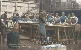 fis001176 - Aberdeen Fishing IndustryWoman Working, Aberdeen Fishing Industry, Cleaning Haddock Fishing Postcard Post Card