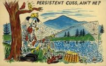 fis001360 - Persistent Fishing Old Vintage Antique Postcard Post Card