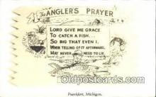 fis001517 - Frankfort, Michigan, USA, The Anglers Prayer Fishing Postcard Post Card Old Vintage Antique