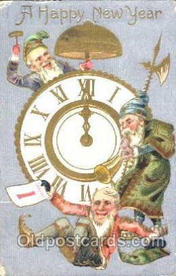 gns001016 - New Years Greetings, Gnomes, Elves, Postcard Post Card
