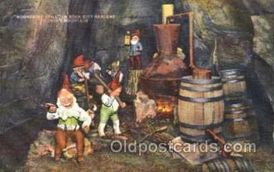 gns001074 - Moonshine Still in Rock City Gardens, lookout Mountain, Gnomes, Elves, Fairy, Faries, Postcard Post Card
