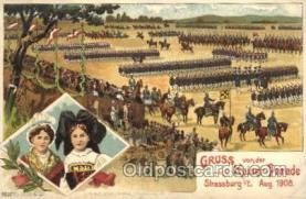 gsa001090 - Gruss von der Kaiser - Parade, Strassburg, Aug 1908, Gruss Aus Postcard Post Card