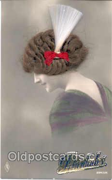 har001008 - Real Hair on Postcard Postcards