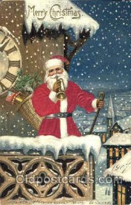 hol000043 - Silk Santa Claus Postcard Postcards
