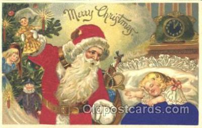 hol000056 - Silk Santa Claus Postcard Postcards