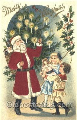 hol000076 - Silk Santa Claus Postcard Postcards