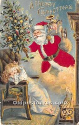 hol000105 - Santa Claus Postcard Old Vintage Christmas Post Card