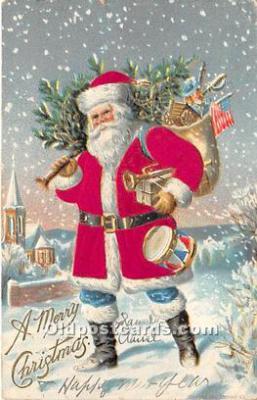 hol000110 - Santa Claus Postcard Old Vintage Christmas Post Card