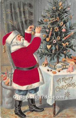 hol000113 - Santa Claus Postcard Old Vintage Christmas Post Card