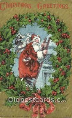 hol000708 - Santa Claus Old Vintage Antique Postcard Post Card