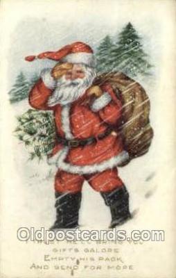 hol002903 - Whitney Made Santa Claus Holiday Christmas Post Cards Postcard