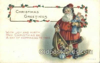 hol003417 - Santa Claus Postcard, Chirstmas Post Card Old Vintage Antique Carte, Postal Postal