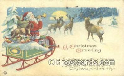 hol003422 - Santa Claus Postcard, Chirstmas Post Card Old Vintage Antique Carte, Postal Postal