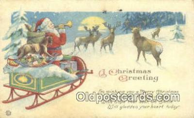 hol003422 - Santa Claus Postcard, Chirstmas Post Card Old Vintage Antique Carte, Postal Postal