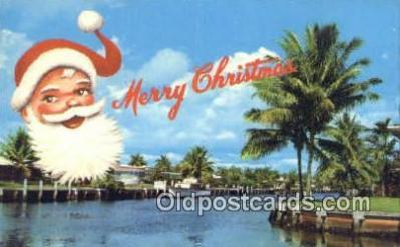 hol003435 - Florida Greeting Santa Claus Postcard, Chirstmas Post Card Old Vintage Antique Carte, Postal Postal