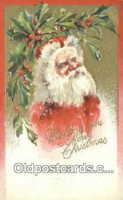 hol003505 - Santa Claus Postcard, Chirstmas Post Card Old Vintage Antique Carte, Postal Postal