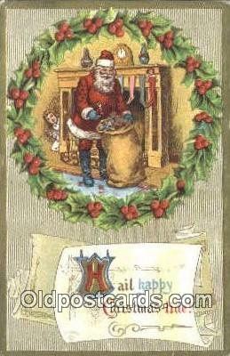 hol003506 - Santa Claus Postcard, Chirstmas Post Card Old Vintage Antique Carte, Postal Postal