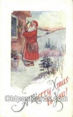 hol003521 - Santa Claus Postcard, Chirstmas Post Card Old Vintage Antique Carte, Postal Postal