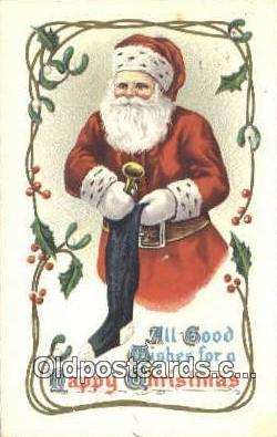 hol003534 - Santa Claus Postcard, Chirstmas Post Card Old Vintage Antique Carte, Postal Postal