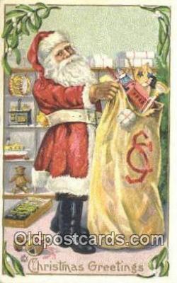 hol003544 - Santa Claus Postcard, Chirstmas Post Card Old Vintage Antique Carte, Postal Postal