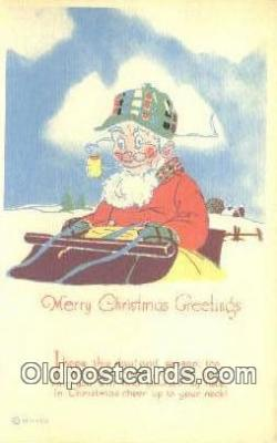 hol003584 - Santa Claus Postcard, Chirstmas Post Card Old Vintage Antique Carte, Postal Postal