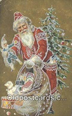 hol003619 - Santa Claus Postcard, Chirstmas Post Card Old Vintage Antique Carte, Postal Postal