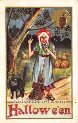Owl, Witch, Black Cat Halloween Postcard