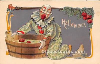 Clown Dunking Halloween Post Card