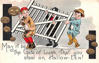 hol012029 - Halloween Post Card Old Vintage Antique