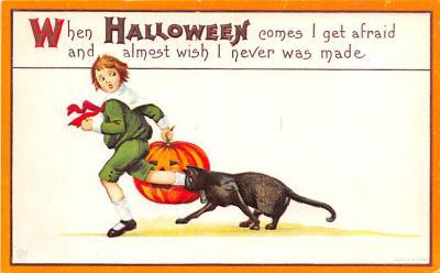 hol012065 - Halloween Post Card Old Vintage Antique