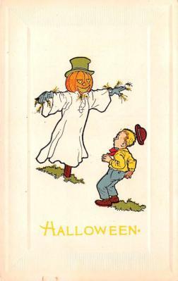hol012079 - Halloween Post Card Old Vintage Antique