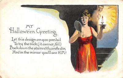 hol012099 - Halloween Post Card Old Vintage Antique