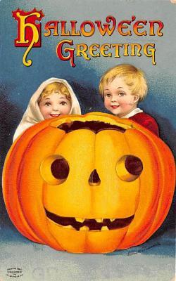 hol012459 - Halloween Post Card Old Vintage Antique