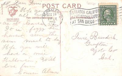 hol012459 - Halloween Post Card Old Vintage Antique  back